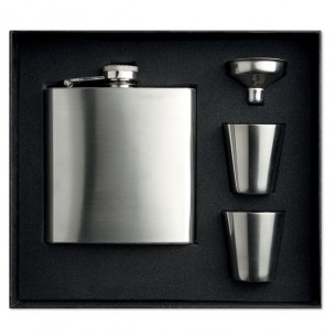 Slim Hip Flask with 2 Cups Set
