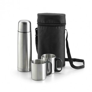 Thermal flask set in pouch